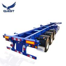 QUEST 2 3 Axles 20ft 40ft shipping Container Transport skeleton Container Chassis Semi Truck Trailer for Philippines