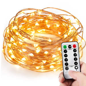 5M 10M Waterdichte Afstandsbediening Kerstverlichting Battery Operated 8 Modus Timer String Koperdraad Led String Licht