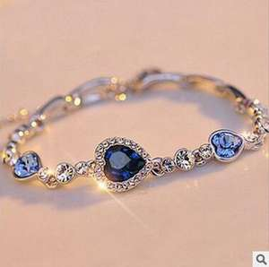 2018 new design the heart of the ocean peach heart-shaped zircon blue crystal silver plating bracelet