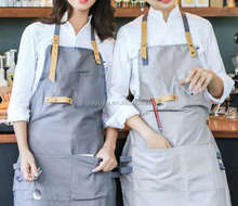 Full Linen Apron - Short - Skinny Leather Ties -cooking apron