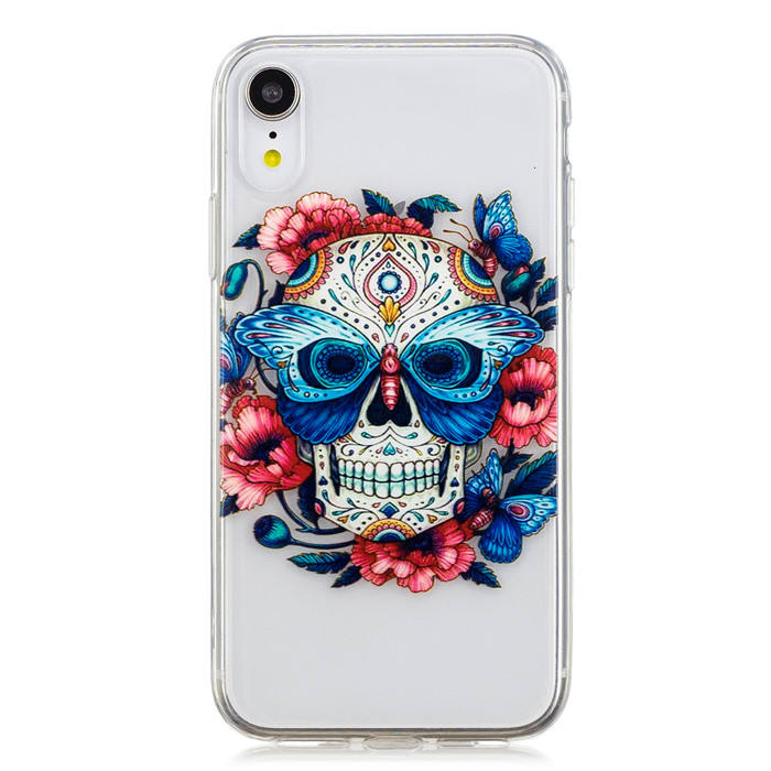 High transparent TPU Skull phone case,mobile cell phone cover cases for iPhone XS Max