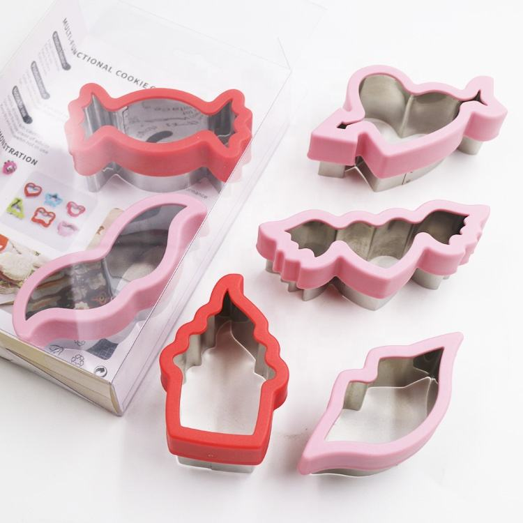 Best selling New style metal plastic cookie cutter set for Valentine's Day 6pcs metal cookie mould set