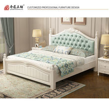 Modern Soft New Design Korean Style Bedroom Furniture Sets Antique Solid Wood Pastoral White Bed