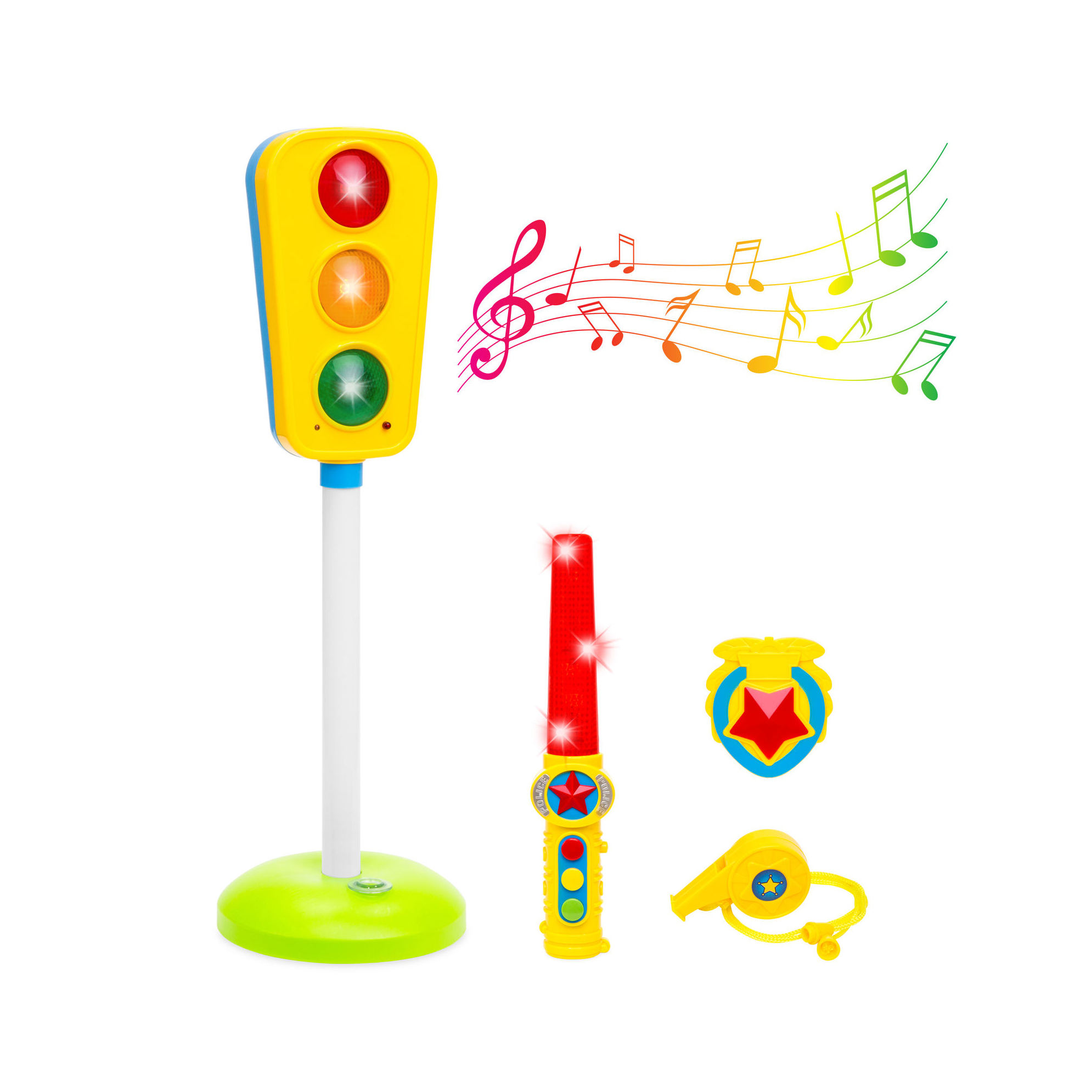 Toy Traffic Light w/Sound, Whistle, Badge Wand Kids, Children - Multicolor
