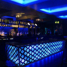 Modern stainless steel nightclub led lighting bar counter