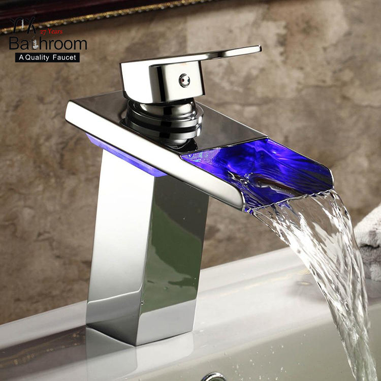 Modern waterfall Lifting faucet Bathroom Mixer Deck Mounted Square column chrome-plated brass faucut Brass LED Basin Faucet