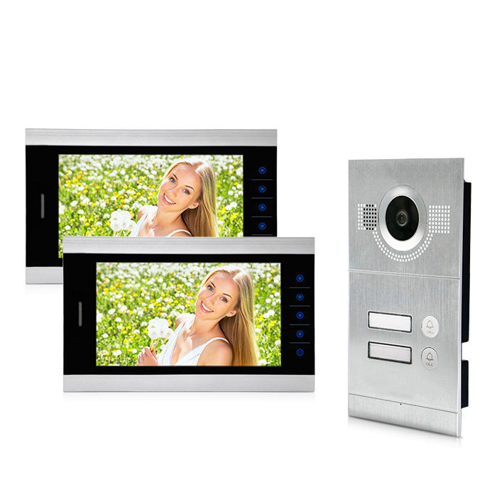 2/4 wire multi apartment video door phone intercom system for 2 buttons family