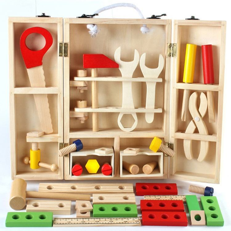 Diy Educational Wooden Simulation Toolbox Toys Multi-Function Kids Wooden Tool Set Toy Box