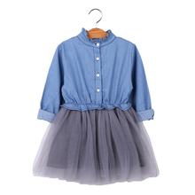 Spring girls' dress denim cotton long sleeve mesh princess skirt Korean version of girls' dress peng peng skirt spot
