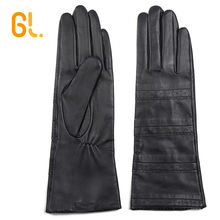GL Ladies Soft Thin Long Black Ethiopia Sheep Leather Gloves with Hand Job