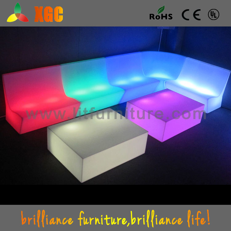 2016 hot sale IP67 waterproof modern outdoor furniture plastic led sofa with LED lights