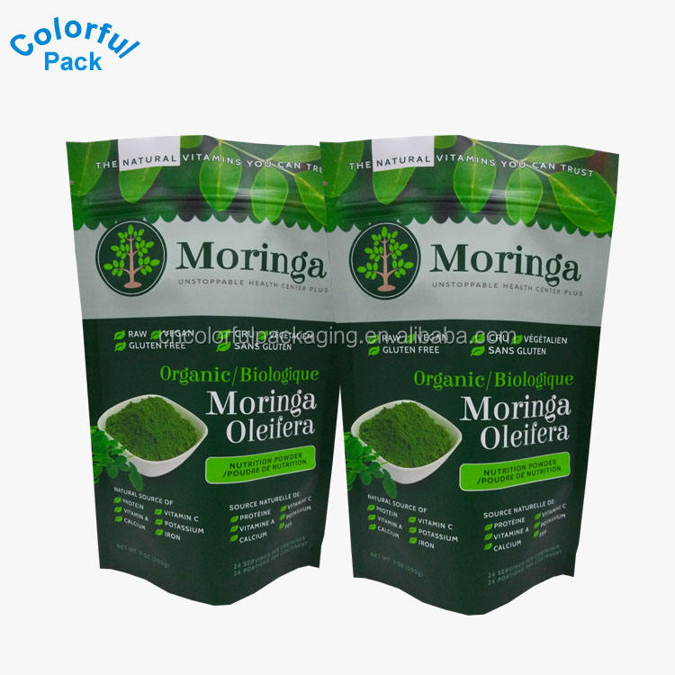 Customized Stand Up Pouches Powder Packaging Moringa Tea Plastic Bags