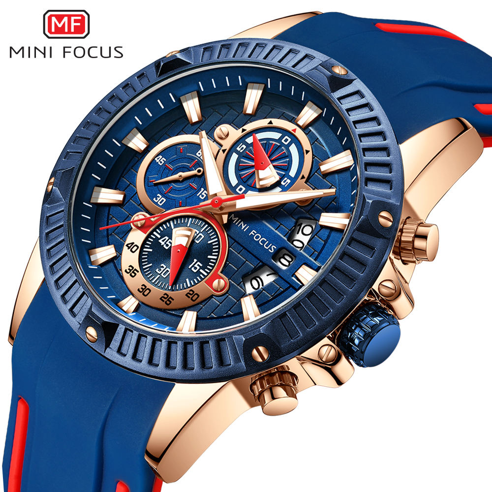 Mini Focus 2021 Man Fashion Watch Blue Rose Gold Rubber Strap 3D Bolt 3 Dials Waterproof Top Brand Luxury Sports Mens Watches