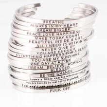 New Silver Stainless Steel Bangle Engraved Positive Inspirational Quote Hand Stamped Cuff Mantra Bracelets For Women