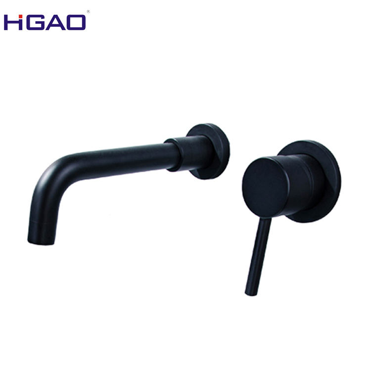 Single Lever Wall Mounted Basin Faucet Black Brass Faucet