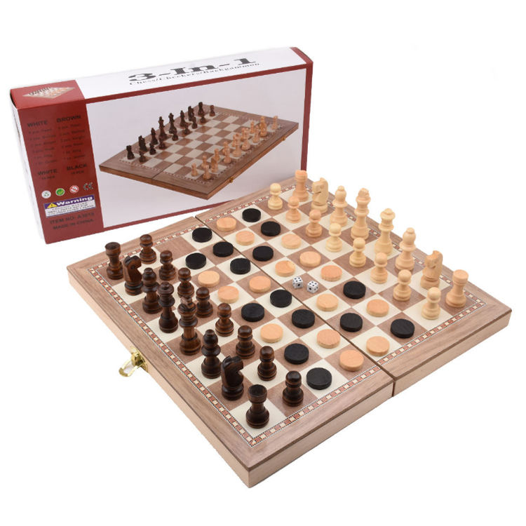 3 in 1 Wooden Travel Game Chess Set, Checkers, Backgammon Set for Adults Kids Folding Portable Chess Set Traditional Chess Game
