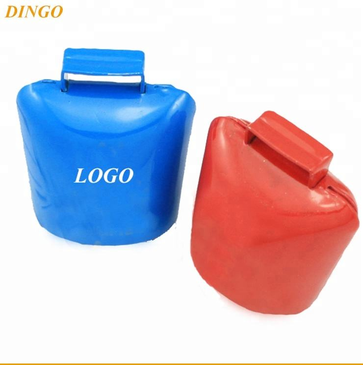 Black plated metal cowbell with logo for sport souvenirs