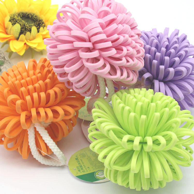 Hot sale durable body cleaning shower bath soft and colorful EVA flower ball