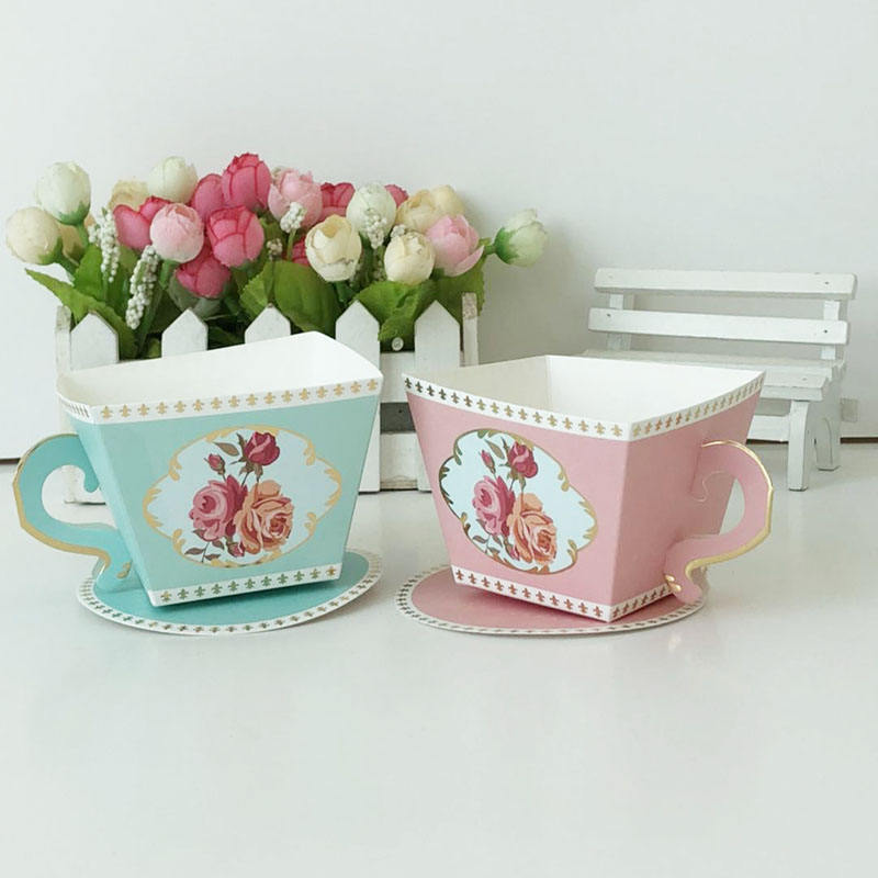 Latest Design Tea Cup Gift Box Wedding Paper Candy Box For Guests