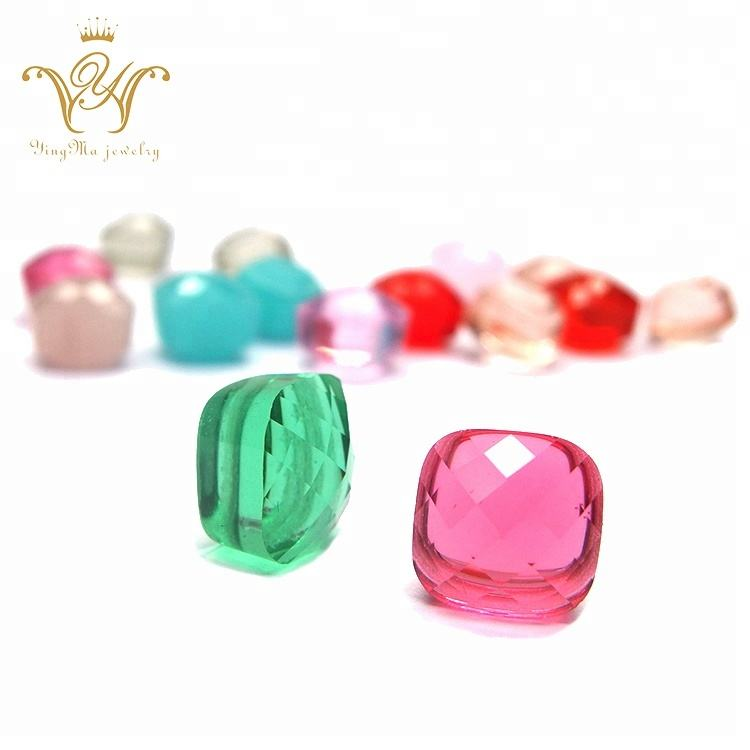 Cushion shape Various colors double faceted glass gems