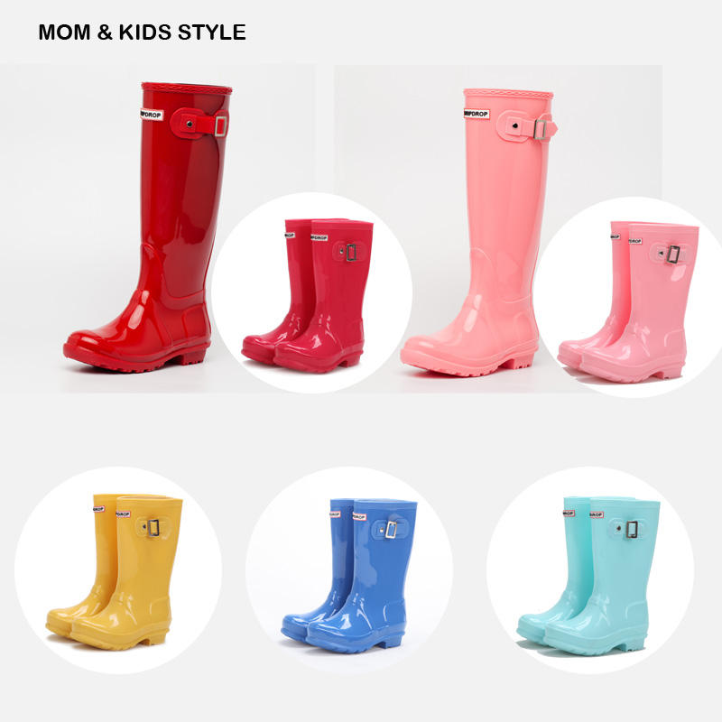 Shinny tall knee high height side buckle fashion MOM and KIDs size parent-child style kids waterproof rainboots wellington boots