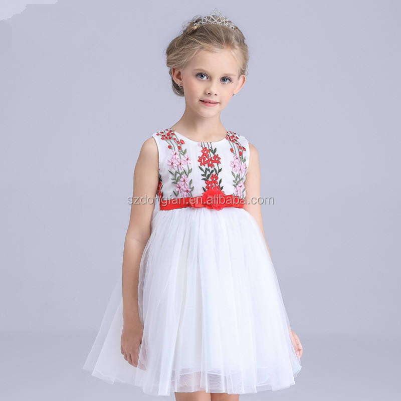 2018 New Summer Cotton Flowers Embroidered Sleeveless Dress Kids Dress Printed Sleeveless Children Baby Girls Dress