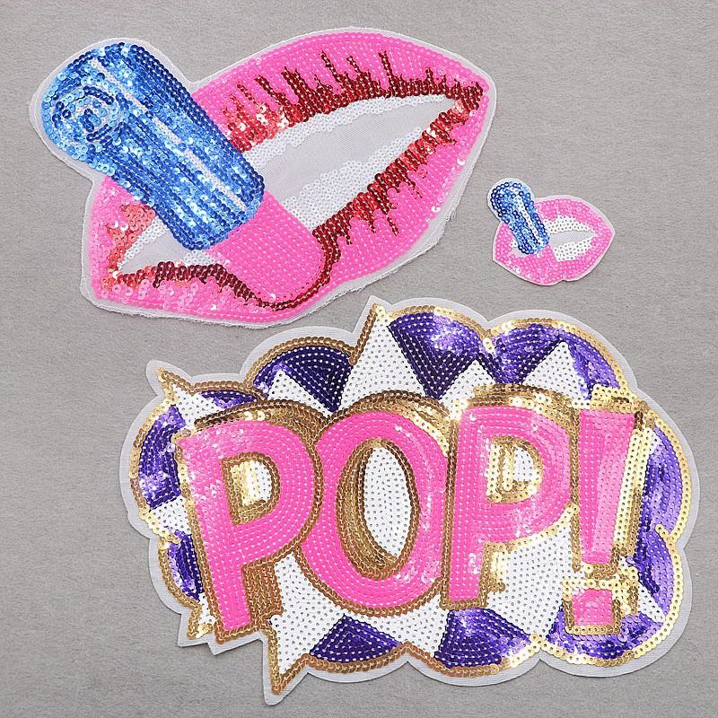 wholesale pink and purple sequins embroidery patch lips and pop word