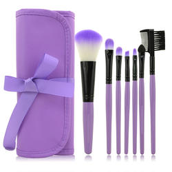 Low MOQ private label makeup brush 7pcsmakeup brushes with various colors