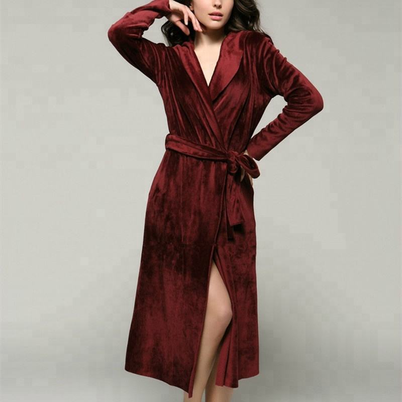 Sexy Red Satin Long Women Pajamas bathrobes Bath Robe