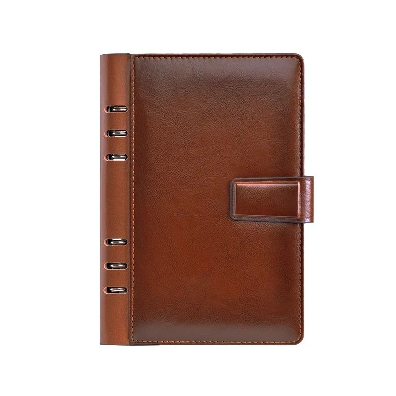 High quality agenda 2020 ring binder pu leather diary with magnetic buckle