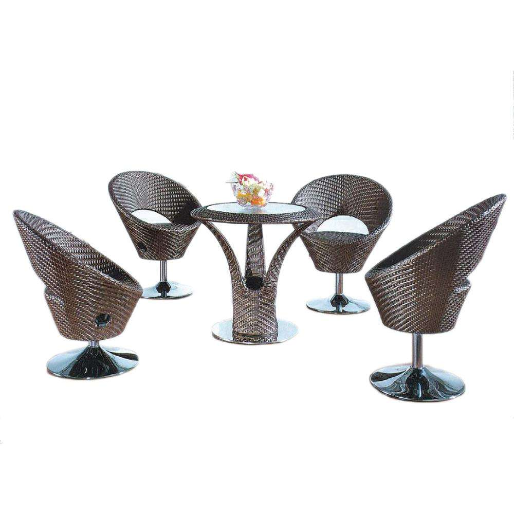 Leisure Coffee Set 4pcs KD muebles de jardín de ratán, muebles de exterior Silla de Bar ajustable