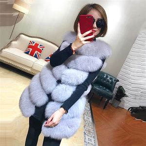 2020 Latest design winter fake fox fur vest lady faux fur waistcoat dyed artificial fur vests