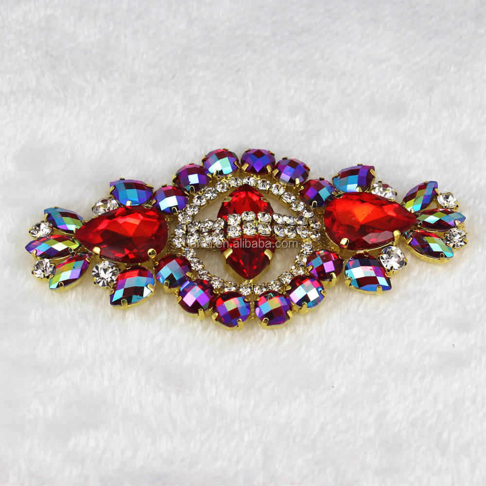 12*5.8 cm Kaca + resin AB colorful berlian imitasi applique Emas Basis Gaun pengantin Sabuk Merah Applique menjahit Gaun pesta Dekorasi
