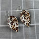 Colorful Fashion Leaf Scale Pattern Shaped Leather Earrings