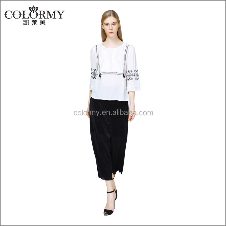 Latest design Fancy confitable embroidery rayon printed ladies tops and blouses