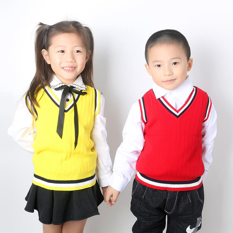 School kids Sleeveless Sweater Child Uniform Knitted Vest