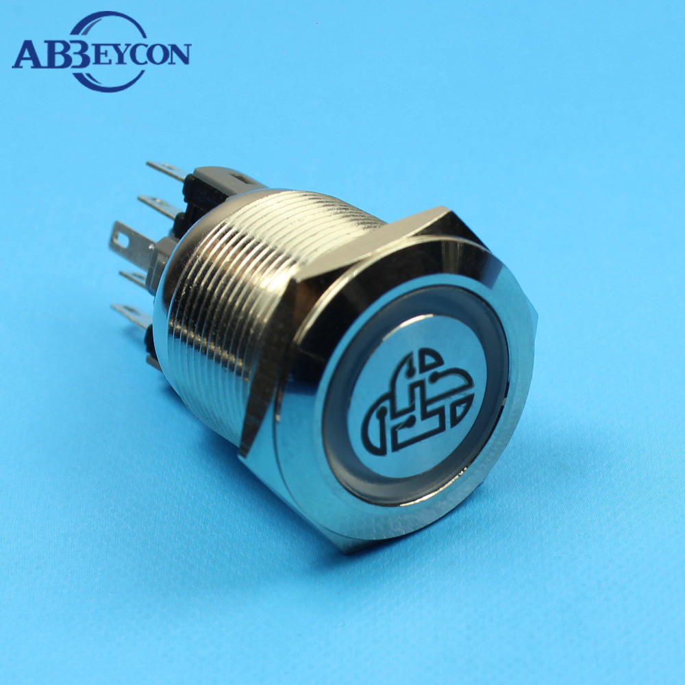 22mm Waterproof IP67 Push Button Switch,Lighted LED Push On Off Switch With TUV CE