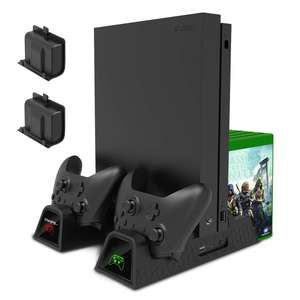 Vertical Cooling Stand Charging Stand for Xbox One/Xbox One S/Xbox One X Console Controllers with two Batteries and Game Storage