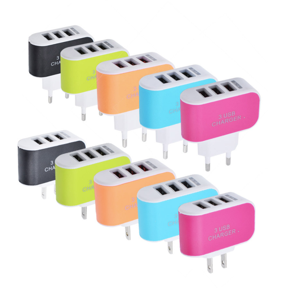 3 Ports USB Multi Adapter Travel Wall AC Charger EU/US Plug for Phones 3.1A