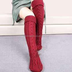 wholesale slouch Women Warmer cable Knit acrylic stocking floor socks