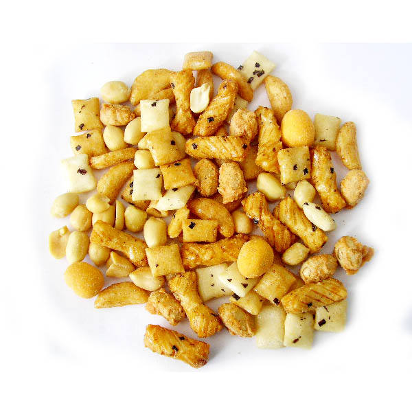 Japanese rice crackers and coated peanuts mix