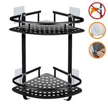Adhesive Suction Corner Shelf Bathroom Shower Caddy Organizer Aluminum Drill Free Triangle 2 Tier Shelf