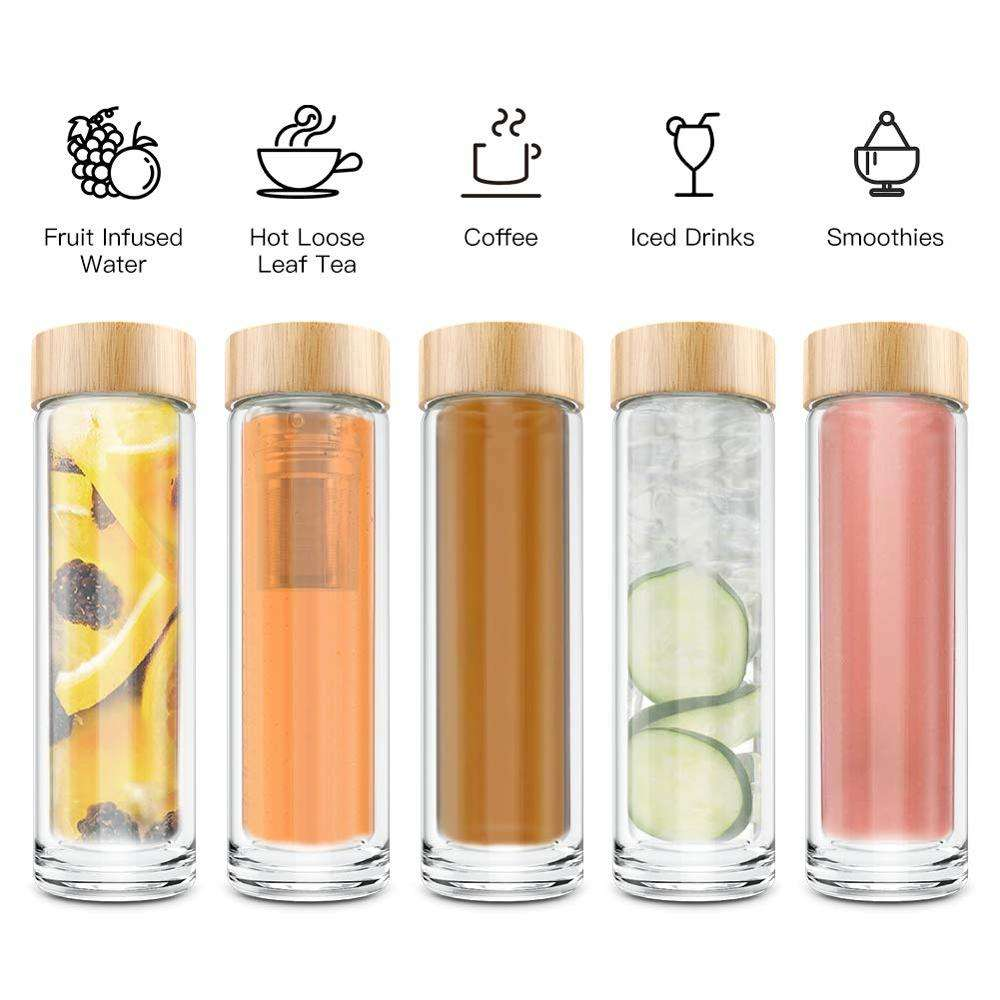 Wholesale Water Bottle Custom Glass Double Wall Tea Infuser Drinking Water Bottle 450ml