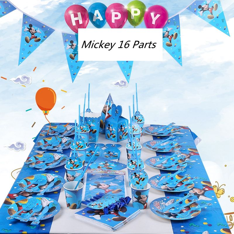 Mickey birthday Party sets cartoon characters Paper party sets for kids birthday decorations