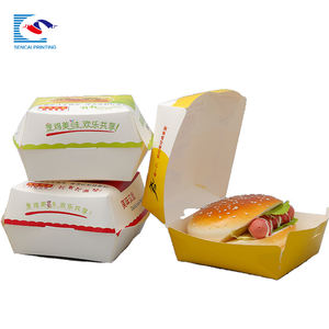 Custom high quality art paper hamburger packaging box for fast food box