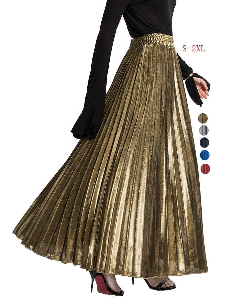 ecowalson Women's Premium Metallic Shiny Shimmer Accordion Pleated Long Maxi Skirt