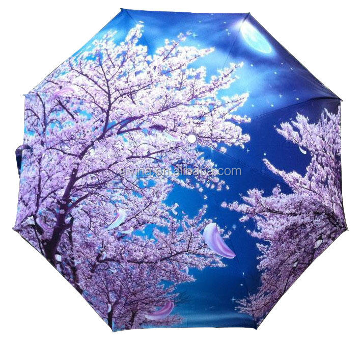 latest umbrella designs pongee material 21 inches 3 folding full photo printing umbrella