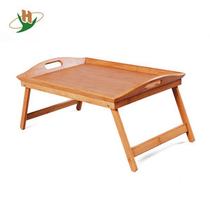 Portable Bamboo Foldable Breakfast Table Laptop Desk Bed Table  Serving Tray