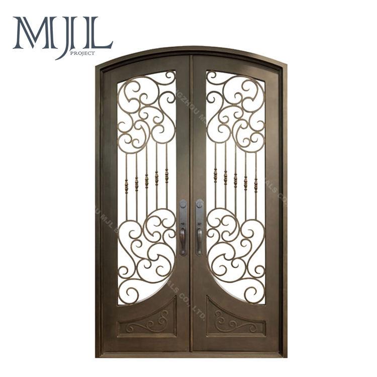 Fábrica de China estándar americano decoración de lujo arco superior de doble puerta de hierro forjado interior