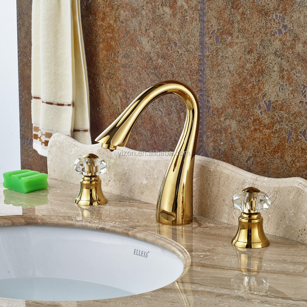 Wholesale Modern Luxury Golden Brass Bathroom Basin Faucet Deck Mounted Tub Faucet Crystal Dual Handle Sink Mixer Tap